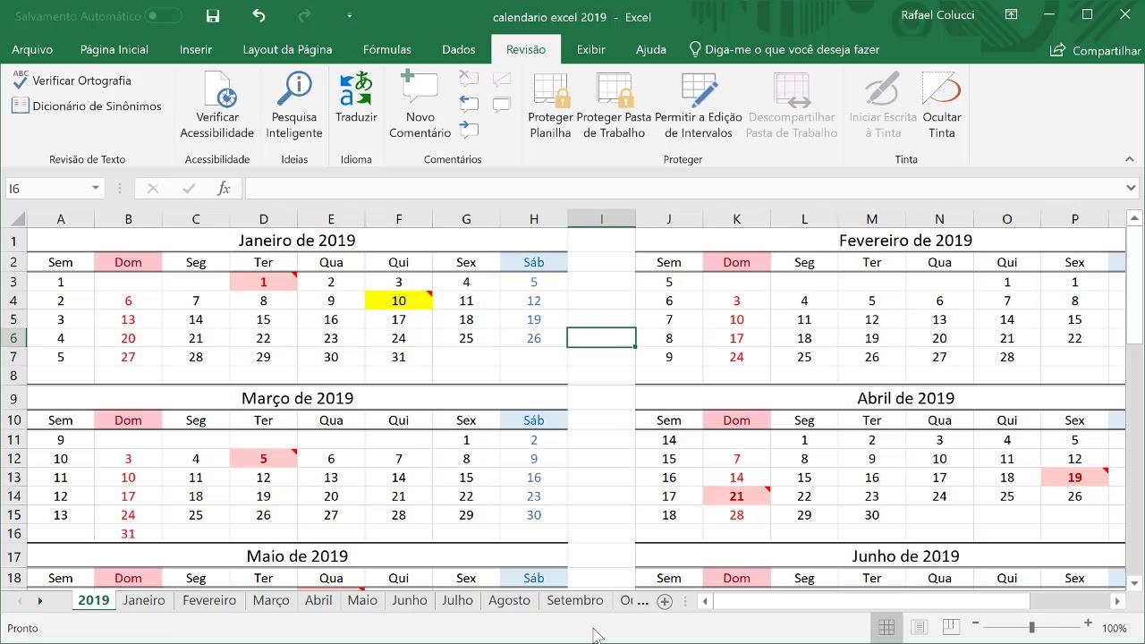 Calendario Su Excel.Calendario Excel 2019