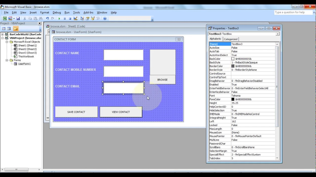 microsoft excel how to create contact book in excel using vba part 2