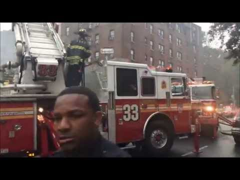 FDNY BATTLING 3RD ALARM FIRE ON BEDFORD AVENUE IN THE BEDFORD AREA OF THE BRONX, NEW YORK CITY.