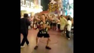 JOHN DOTE' DANCING AT FREMONT ST., LAS VEGAS