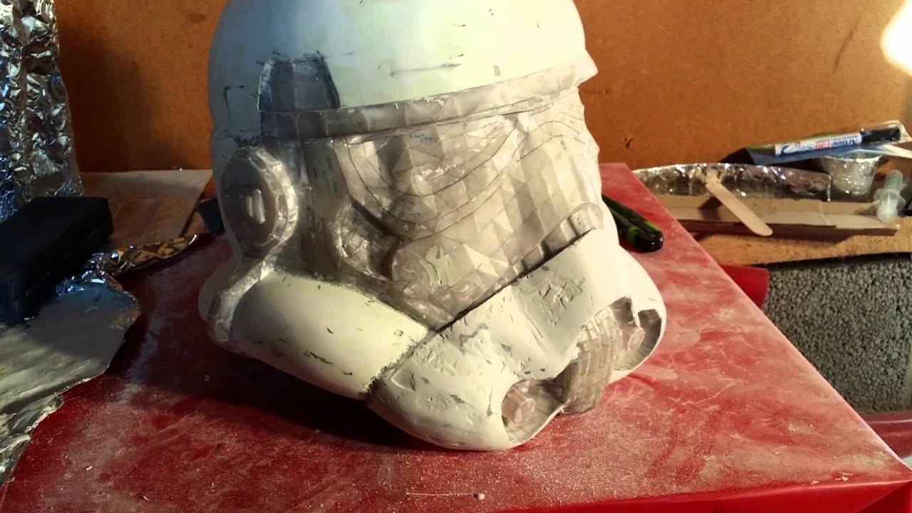 Storm trooper pepakura and fiberglass helmet build - YouTube