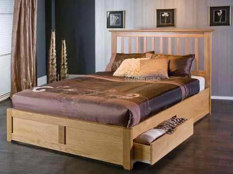 Wooden Double Bed With Drawer Designs Youtube