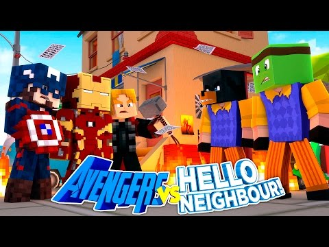 Minecraft Adventure - THE AVENGERS VS HELLO NEIGHBOUR W/ TINY TURTLE!!