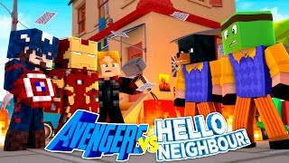 Minecraft Adventure - THE AVENGERS VS HELLO NEIGHBOUR W/ TINY TURTLE!!