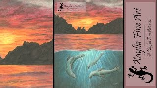 Speed drawing: how to draw an ocean sunset with sea lions