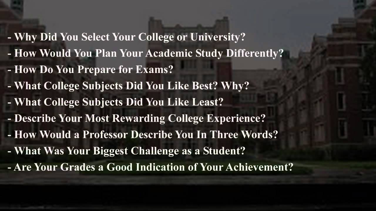 interview questions and answers for College - YouTube