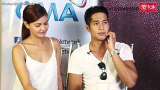 "Janine Gutierrez and Aljur Abrenica on PEP TALK.  Janine has ""Maria Clara"" values"