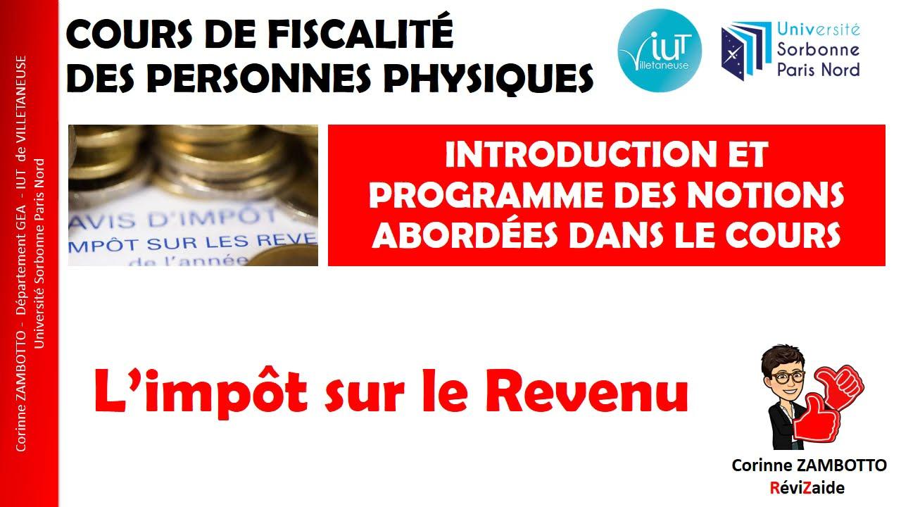 Download COURS DE FISCALITÉ DES PERSONNES PHYSIQUES - Introduction