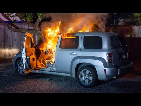 First On-Scene: Firefighters Battle a Car Fire!