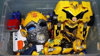 Box of Toys: Action Figures, Cars, Transformers Bumblebee, Spinners and More