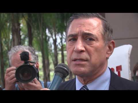 Rep. Darrel Issa Talks To Supporters And Protesters Outside Of His Vista Office