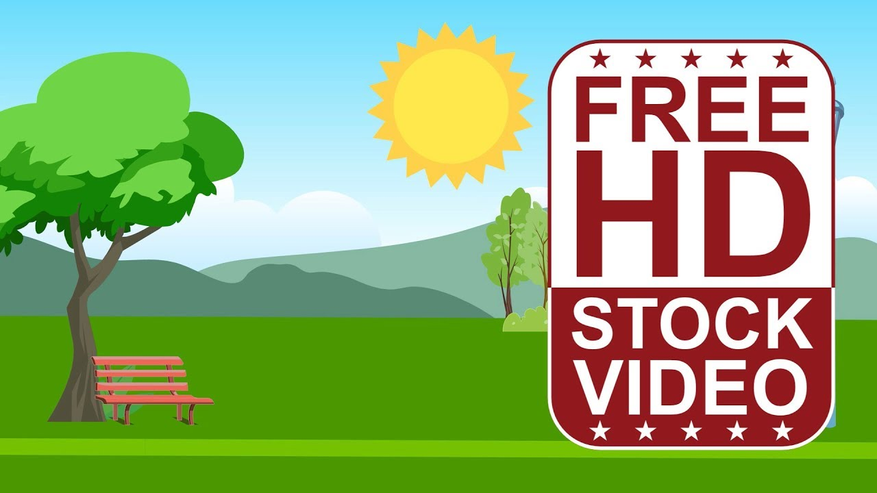 FREE HD video backgrounds – cartoon style scene park with ...