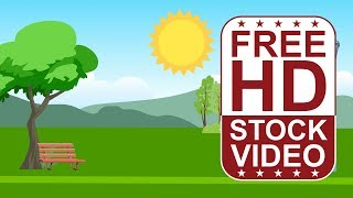 Free Stock Videos – cartoon style scene park with trees sun and clouds