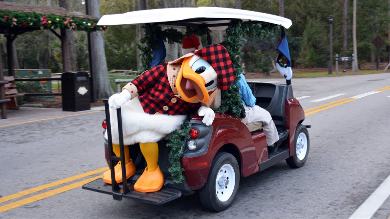 Disneys Fort Wilderness Christmas Golf Cart Parade 2014