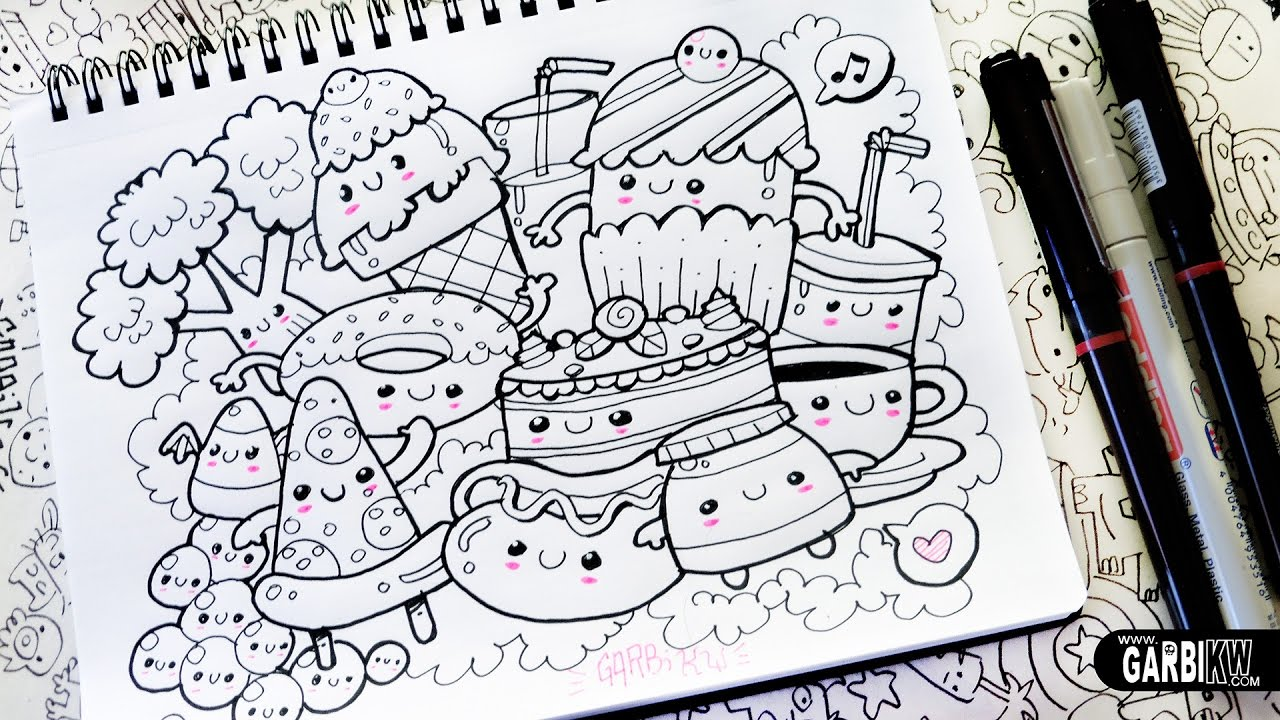 Kawaii food how to draw kawaii doodles by garbi kw youtube for How to draw doodles