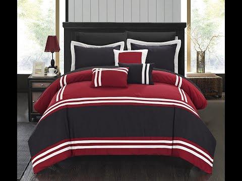 10 Piece Comforter Bedding I Sheet Set I Decorative Pillows Shams, Queen, Grey I Diya Shah