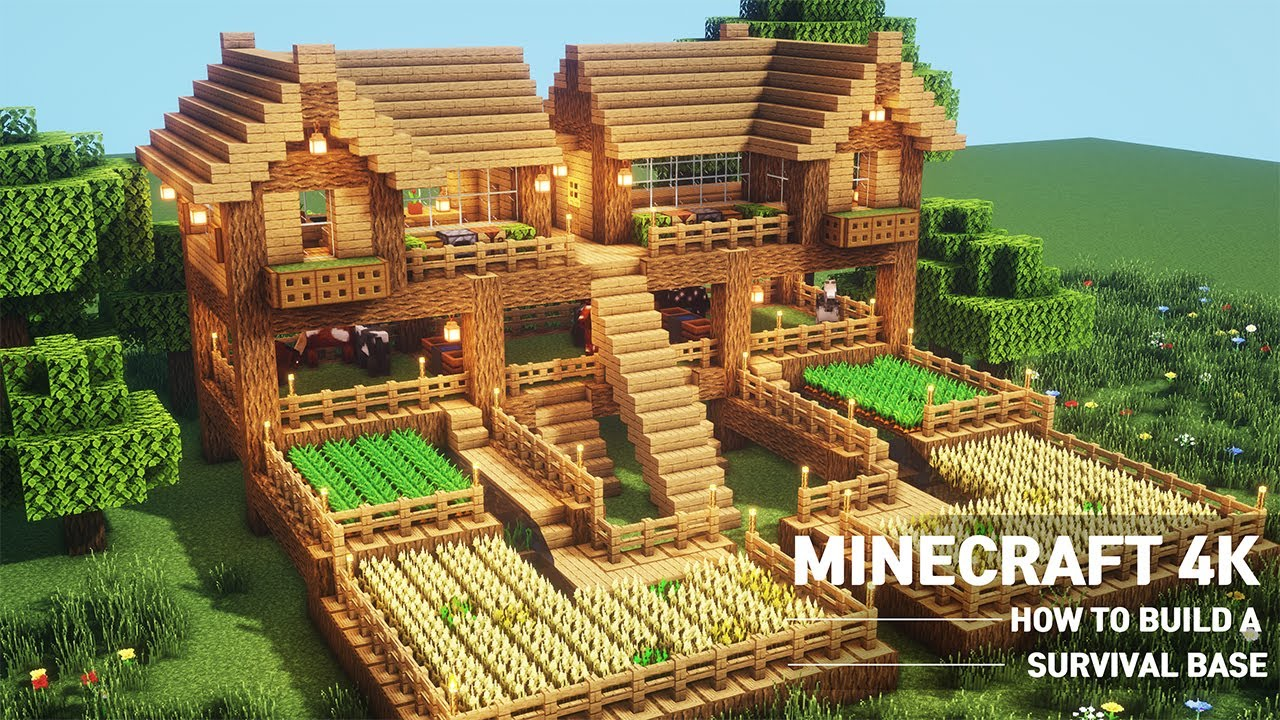 Minecraft Oak Survival Base House Tutorial How To Build In