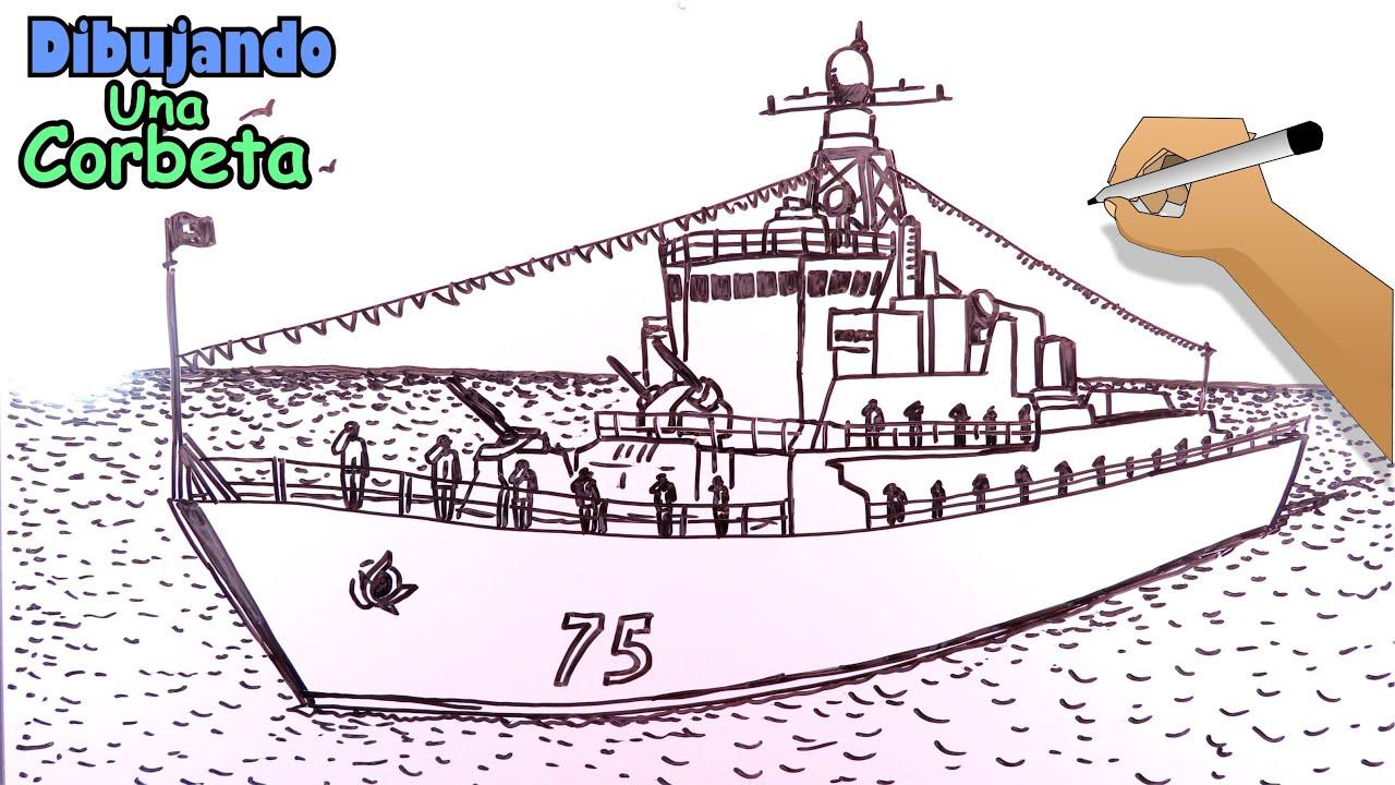 Cómo dibujar barcos 7/8 - Una Corbeta, buque de guerra