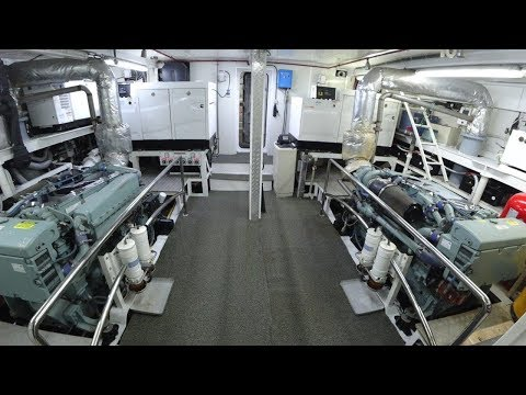 35 m Steel Hull Motor Yacht Engine room complete tour