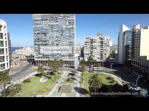 Video aéreo de la Plaza Independencia de Montevideo, Uruguay Desde Lo Alto