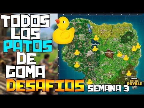 FORTNITE | UBICACIÓN EXACTA DE TODOS LOS PATOS DE GOMA! FACIL Y RAPIDO | DESAFIOS DE LA SEMANA 3!