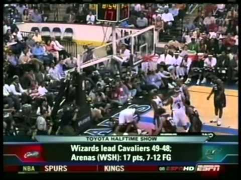 Lebron James 32 pts vs Gilbert Arenas 36 pts, playoffs 2006, cavs vs wizards game 6