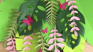 Tropical backdrop_DIY paper leaves_DIY banana tree leaves / How to make a tropical backdrop
