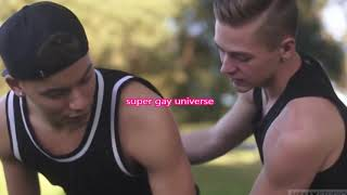 GAY LOVE BOYS KISSING IN PUBLIC Playing gymnastics  JUMPING Beautiful couple in love GAYS talking