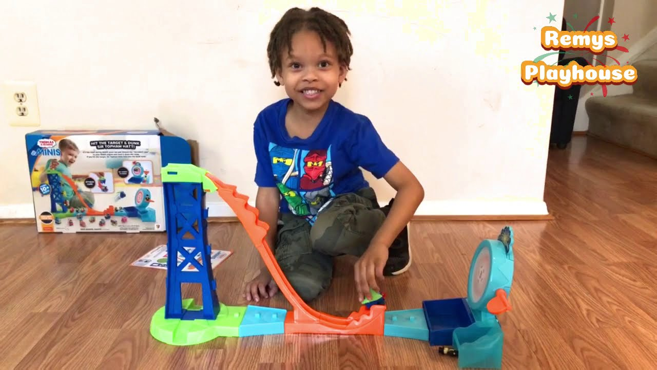 Remy Plays With Thomas and Friends Mini Stunt Set Toy Train Kinder Egg Surprise At End!