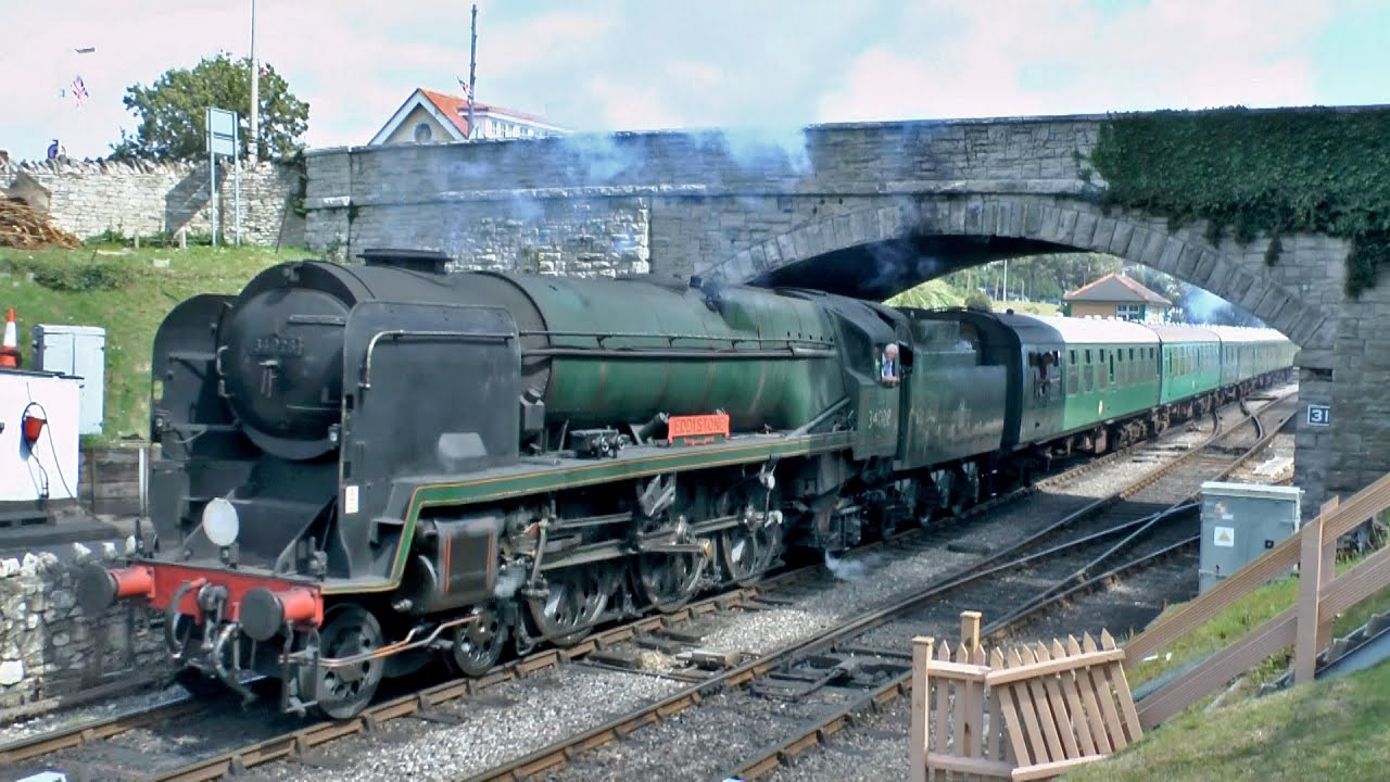 Swanage Railway Yellow Timetable featuring 34028 Eddystone & 6695 11/08/14  - YouTube