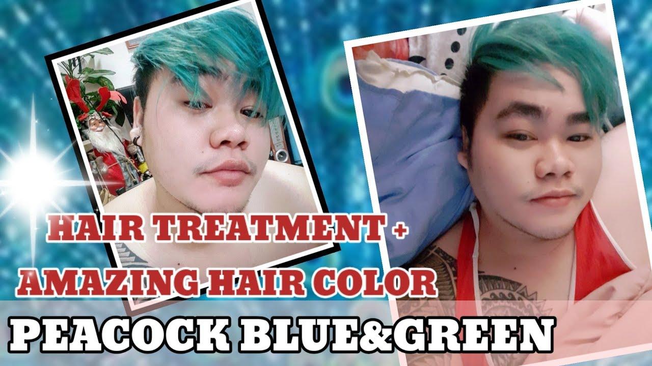 PEACOCK BLUE AND GREEN HAIR COLOR |HAIR TREATMENT |BAHRAIN GOODVIBES