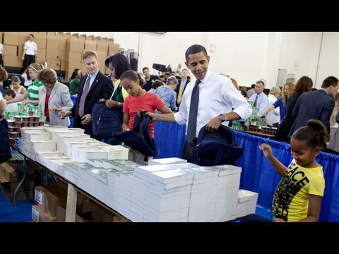 President Obama and the First Lady Pack 15,000 Backpacks for Children of Our Troops