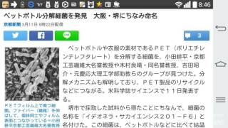 ペットボトル分解細菌を発見 大阪・堺にちなみ命名