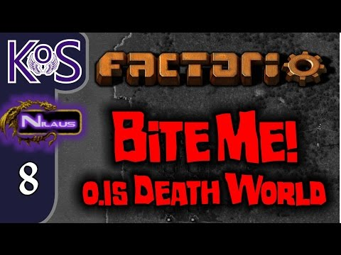 Factorio 0.15 Bite Me! Ep 8: THE MALL TAKES SHAPE - Death World COOP MP Gameplay, Let's Play