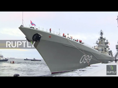 Russia: Battlecruiser Pyotr Velikiy docks in Severomorsk following Syria mission