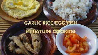 Miniature Cooking 02 Fried Garlic Rice, Fish and Egg