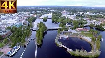 Finland Above Joensuu Pielisjoki (Ilosaari) 4K