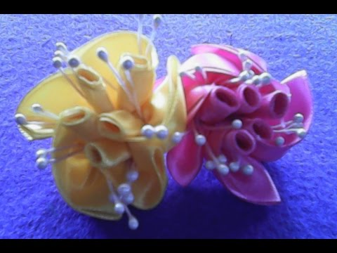 DIY-Cara membuat bunga mawar bergulung dari pita satin- How to make rolled roses of satin ribbons