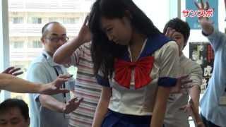 人気女優佐々木心音が、映画「フィギュアなあなた」のPRのため、大阪市...