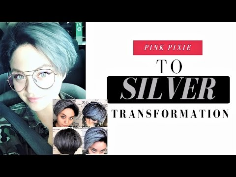 SILVER hair Pixie Cut! (Pink to Silver Hair)