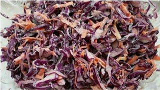 Салат из синей капусты. Очень простой, но не менее вкусный!/Салат із синьої капусти