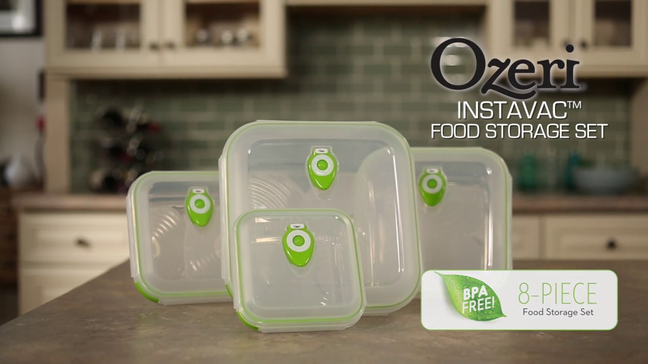 Ozeri INSTAVAC Green Earth Food Storage Container Set, With Vacuum Seal And  Locking Lids   YouTube