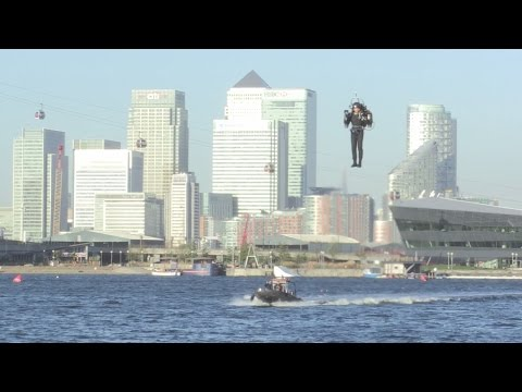 UK's first jetpack flight blasts off above London