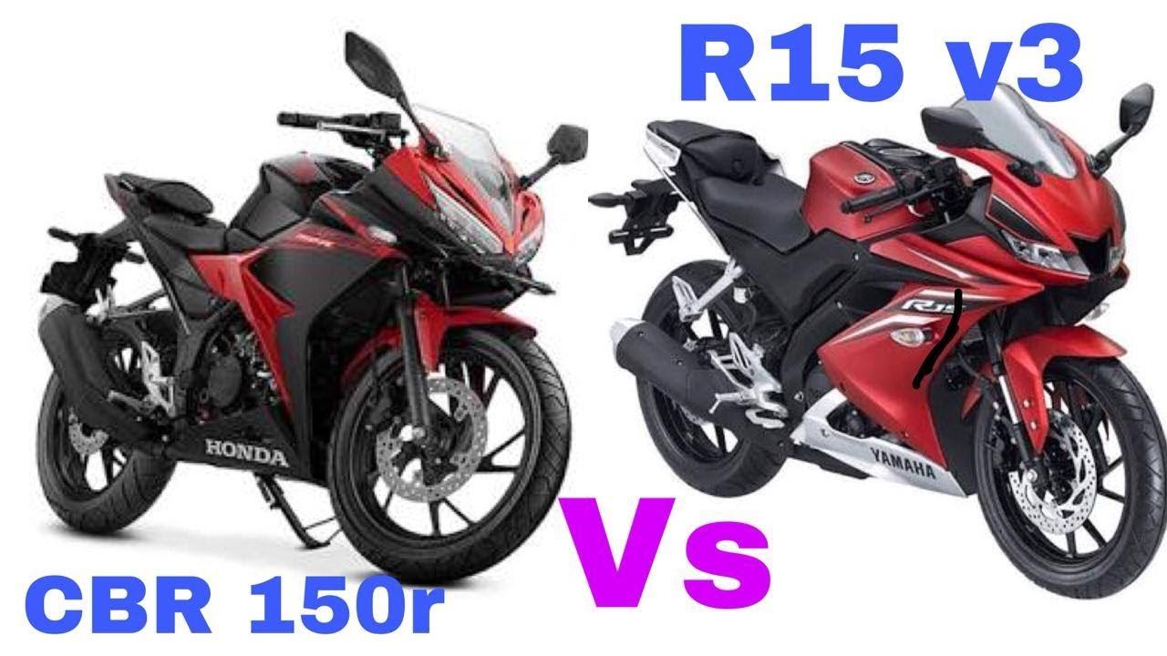 yamaha r15 v3 vs honda cbr 150r 2018 - youtube