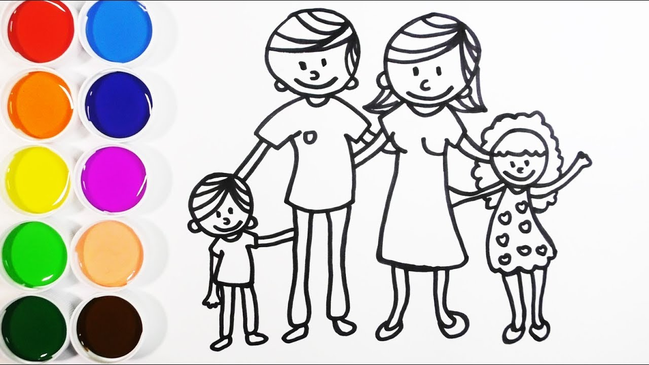 Dibuja Y Colorea Una Familia Dibujos Para Niños Learn Colors Funkeep