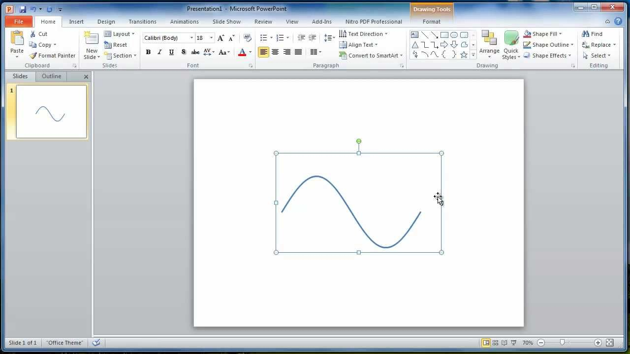 sine wave drawing in microsoft power point tutorial1