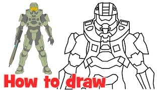 How to draw John-117 Halo 5 characters Full body drawing step by step