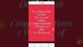 6/45 Mega lotto result Oct 12,2018 Congrats 2 winners of