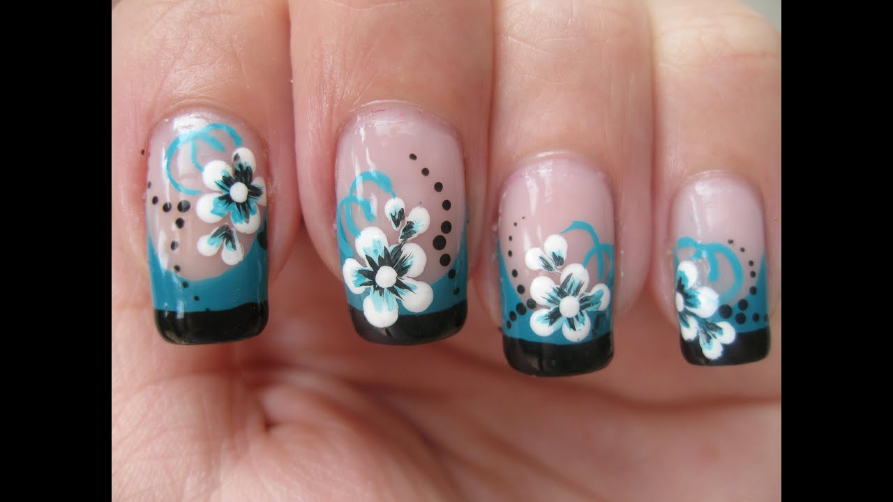 Nail art double colored french tip with flower youtube prinsesfo Gallery