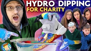 HYDRO DIPPING for CHARITY!  McDonalds Fries, AirPods, NIKE, Book & Hydro Flask (FV FAMILY Challenge)